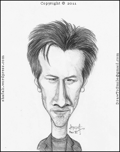 A Cartoon, Caricature, Portrait, Sketch of the Hollywood Actor Keanu Reeves who played the part of Neo in the Matrix Trilogy.