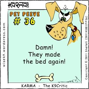 The Cartoon of Comic dog Karma the K9Critic - dog, pup, canine, animal drawings.