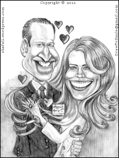 Caricature, Cartoon, Drawing of Prince of Wales, William, and Kate Middleton - Before the British Royal Wedding.