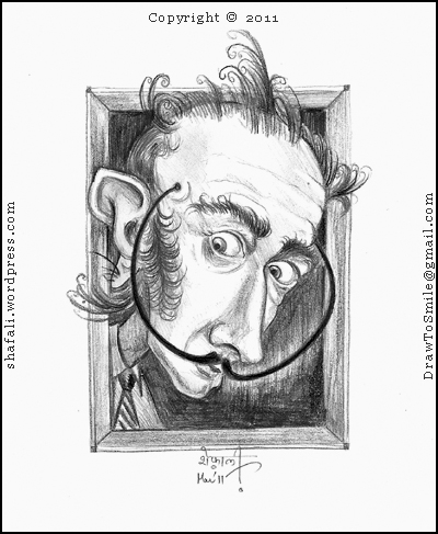A Caricature, Cartoon, Drawing, Portrait of Salvador Dali, the Spanish Surrealist with his mustaches (moustaches) and the characteristic mad look in his eyes!