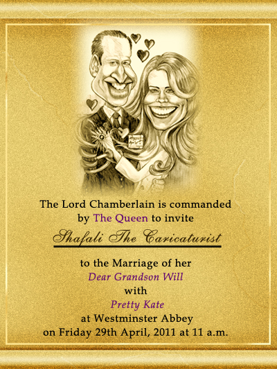 Image, photograph of the golden royal wedding invitation card for Prince William's wedding with Kate Middleton.