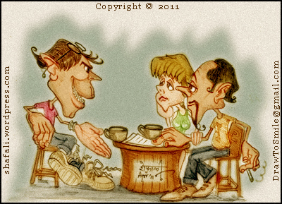 Cartoon caricature of three people in discussion for the story in the caricature blog carnival for fiction or story writers