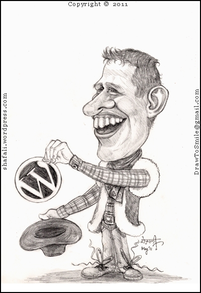 Caricature Cartoon of Matt Mullenweg pulling out WordPress from his Cowboy hat