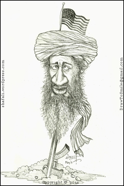 The Caricature, Cartoon, Sketch, Drawing of Osama Bin Laden, the Dreaded Terrorist of Al Qaeda - shot dead by the US Military.