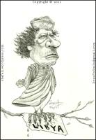 The Caricature, Cartoon, Sketch, Portrait of Moammar Gaddafi, the Dictator of Libya!