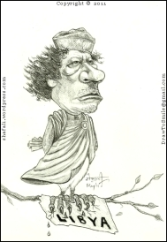 The Caricature, Cartoon, Sketch, Portrait of Moammar Gaddafi, the Dictator of Libya!