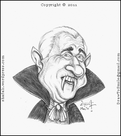 A Caricature, Cartoon, Sketch of Leslie Nielsen as Count Dracula in the Movie Dracula Dead and Loving it.