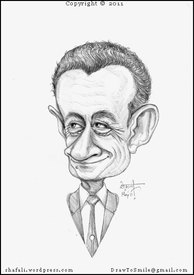 The Caricature, Cartoon, funny drawing of Nicolas Sarkozy, the I-was-there President of France who's inspired his voodoo dolls.