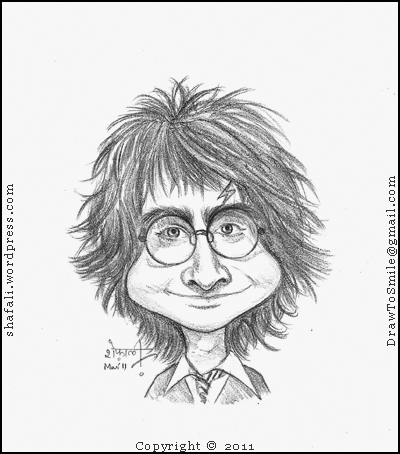 A Cartoon, Caricature, Drawing, Sketch, (you might even call it a distorted portrait) of Harry Potter, the wizard boy character created by JK Rowling
