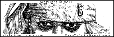 A Pen and Ink Drawing of Johnny Depp's (Captain Jack Sparrow of Pirates of the Caribbean) Eyes.
