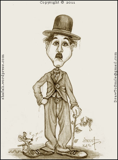 Caricature Cartoon Sketch Drawing Portrait of Charlie Chaplin as his most famous Silent Film Character, The Tramp.