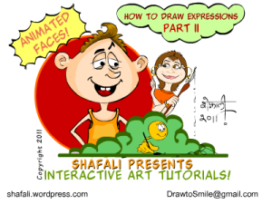 Icon for how to draw expressions tutorial - part 2, which discusses the role of other features in expressing emotions - a man with a toothy smile and the caricaturist.