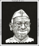 A Portrait of Anna Hazare, the Indian who became famous for the anti-corruption movement and the Lokpal Bill, done as a Pen and Ink Drawing - poster format.