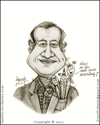 Caricature, Cartoon, Portrait, Sketch, or Drawing of Ajit Ninan, the Great Indian Cartoonist (Times of India.)