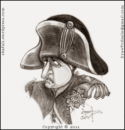 The Caricature, Cartoon, Portrait of the French Emperor Napoleon Bonaparte, looking unhappy in his bicorne hat and his tights.