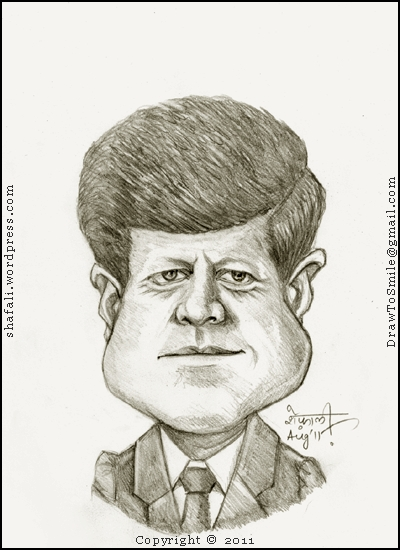 The Caricature, Cartoon, Sketch, Drawing, Portrait of John F. Kennedy, the Handsome 35th President of the United States who was assassinated by  Harvey Oswald in the third year of his presidency.