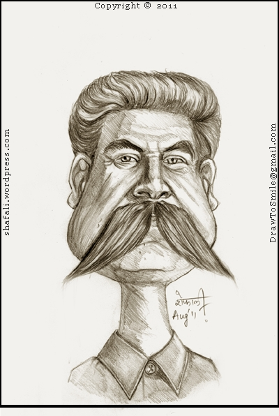 The Caricature, Cartoon, Sketch, Drawing, Portrait of Joseph Stalin, the Communist Premier of USSR often criticized as a tyrant.