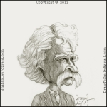 The caricature, cartoon, drawing, sketch, portrait of mark twain the famous american writer known for writing adventures of tom sawyer and adventures of huckleberry finn.