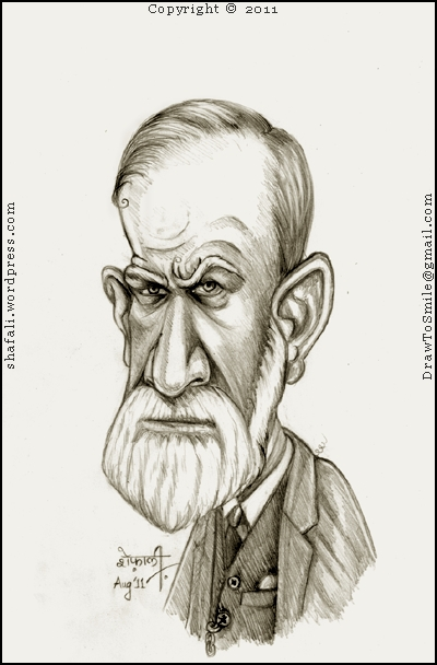 Cartoon, Caricature, Drawing, Portrait, Sketch of Sigmund Freud the man who gave us the Oedipus complex and the freudian slip.