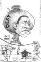 Political Cartoons - Caricature of Barack Obama, the US Debt Burden, and S&P reducing the credit rating to AA+