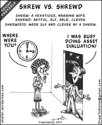 Toony Pretzels by Shafali - Cartoon of a Nagging Wife and a Cheating Husband - The Shrew and the Shrewd and some Asset Evaluation