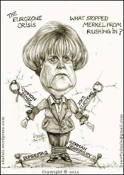 Caricature and Cartoon of Angela Merkel, the German Chancellor restrained from acting in the Eurozone crisis - A portrait and a sketch.