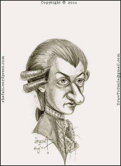 A Caricatured Portrait or a Cartoon sketch of Wolfgang Amadeus Mozart - The 18th Century Musician and Composer who was a child prodigy.
