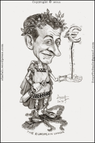 A Cartoon on the Eurozone Crisis - The Caricature, or Portrait of French President Nicolas Sarkozy, who managed to charm Angela Merkel into making a decision that could help sustain Euro.