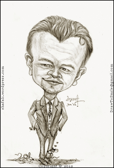 The Caricature, Cartoon, Portrait of Leonardo DiCapiro, the Hollywood Actor of the Titanic fame. Shown here as a combination of Frank Abgnale (Catch me if you can) and J. Edgar Hoover (J. Edgar.)