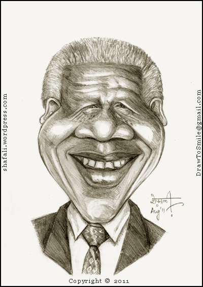 The caricature, cartoon, sketch, portrait of Nelson Mandela, the first African President of South Africa who fought a long battle against Apartheid.