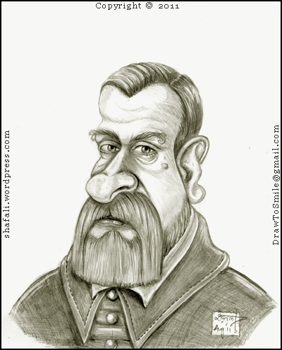 The Caricture, Sketch, or Portrait of Galileo Galilie, the Genius who invented the telescope, discovered the moons of Jupiter and other planets, got on the wrong side of the Church for speaking the truth about the Earth revolving around the Sun...and so on.