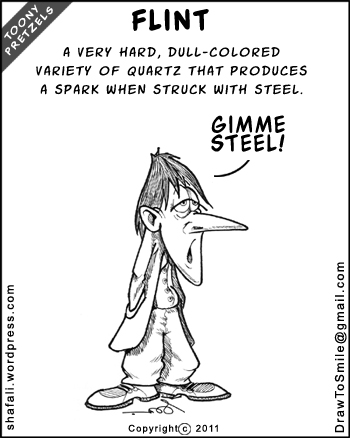 A Toony Pretzels Cartoon - A depressed, sad, unhappy man looking for inspiration - Flint and Steel.