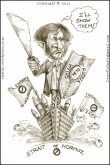 The caricature, cartoon, sketch of Mahmoud Ahmadinejad, President of Iran - concept - nuclear power and weapons, russia china as allies, blockage of straits of hormuz