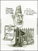 The caricature, cartoon, sketch, portrait of President Hamid Karzai of Afghanistan - the US-Afghan Agreement Draft - Give us less but Write it down.