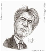 The caricature, cartoon, sketch, drawing of Robert De Niro, the Hollywood actor who played young don corleone in the Godfather.