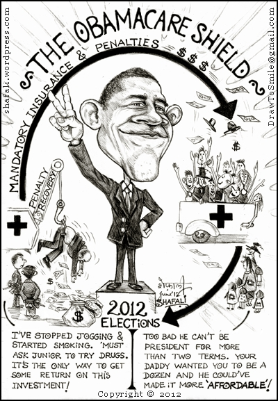 Caricature of Barack Obama - 2012 US Presidential Elections - Health-care Bill Upheld
