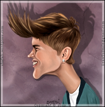 Caricature/Cartoon of the Teen Sensation Justin Bieber... and of his Hair!