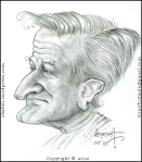 The Caricature, Cartoon, Sketch, Portrait of Robin Williams - the Hollywood Actor who played Patch Adams, Mrs. Doubtfire, and Peter Pan!