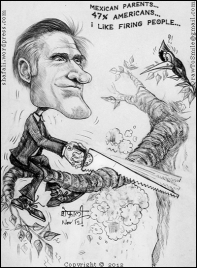 Mitt Romney's Gaffes - A Visual Interpretation - A Caricature, Cartoon, and Sketch of Mitt Romney, the Republican Presidential Candidate in the 2012 US Elections.