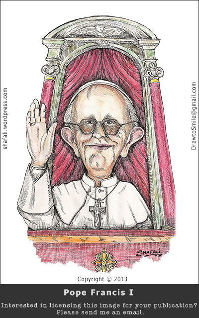 Caricature, cartoon, pen and ink color drawing of Pope Francis I - the first Non-European to become Pope.