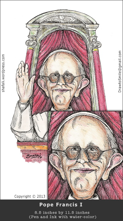 The caricature/Cartoon of Pope Francis (Jorge Bergoglio) - pen and ink drawing with color.