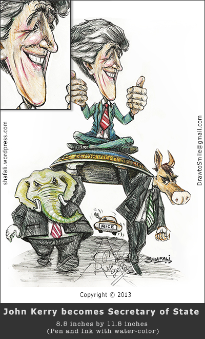 Caricature, Cartoon of John Kerry being carried on a shield by the democrats and the republicans - with anne rice waving goodbye - A pen and ink drawing with color.