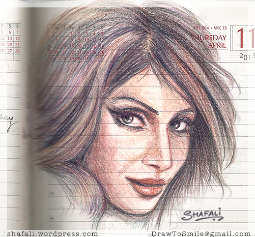Color Pencil Portrait of Bipasha Basu the Bollywood Hindi Film Actress, on a Diary Page.