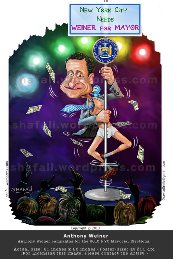 Caricature, Cartoon, Comic, Poster of Anthony Weiner (Weinergate) Pole-dance New York NYC Mayoral Elections 2013