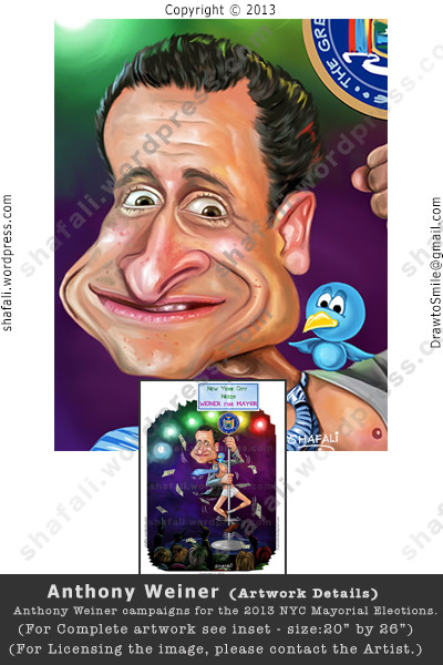 Anthony Weiner - Cartoon with Twitter bird - Face Details from Pole-dance Poster (Weinergate and NYC Mayoral Elections)