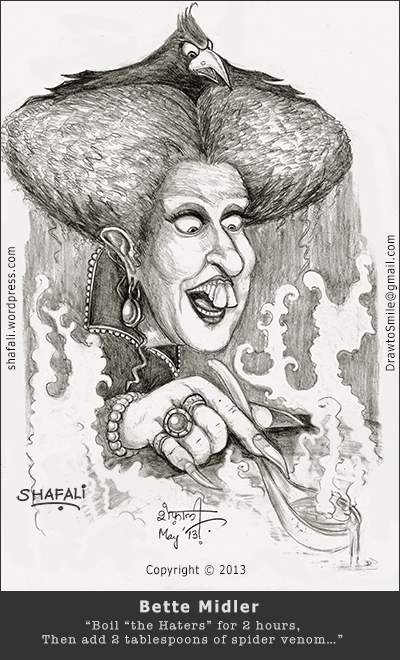 caricature, cartoon, black and white sketch portrait of Bette Midler as Winnie Sanderson, the witch of Hocus Pocusx