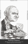 Caricature, Cartoon, sketch, portrait of Anthony Hopkins as Hannibal Lecter, the Cannibal of Silence of the Lambs.