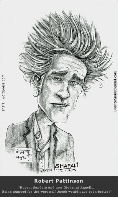Caricature, Cartoon, Sketch, Portrait - Robert Pattinson - the Vampire of the Twilight Saga - Edward Cullen after being dumped by Kristen Stewart