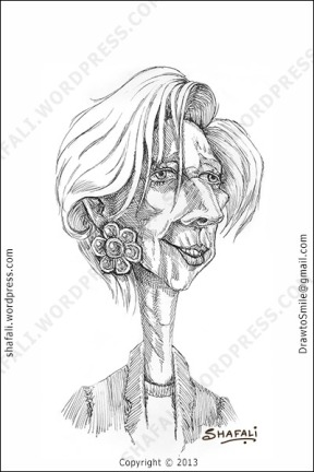 caricature, cartoon, sketch, drawing,portrait of Christine Lagarde the MD of IMF.
