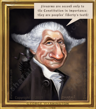 Caricature, Cartoon of George Washington the first president of the US and the architect of the American Constitution voices his opinion on gun control.